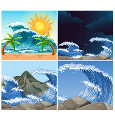ocean scenes with big waves day and night vector image