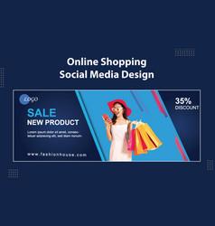 Online fashion shopping sale social media cover vector