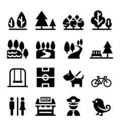 Park public park national park garden icon set vector