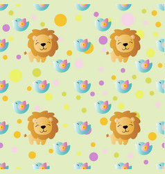 Pattern with cartoon cute toy baby lion vector