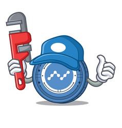 Plumber nano coin mascot cartoon vector