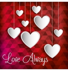 Poster love always heart hanging vector