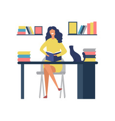 reading book hobbies woman sitting at table and vector image