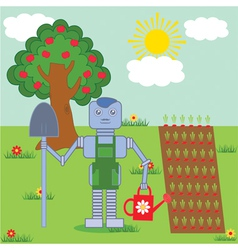 Robot in the garden vector