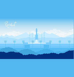 Rocket takes off in the starry sky background vector