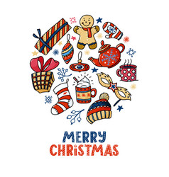 round christmas greeting card with text doodles vector image