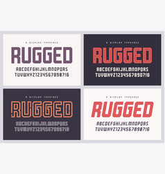 rugged san serif font alphabet typeface vector image