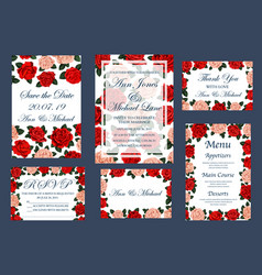 Save date wedding cards and menu vector