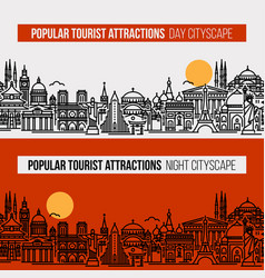 seamless cityscape with worlds tourist locations vector image