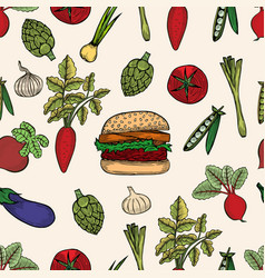 seamless pattern of colored vegetable vector image