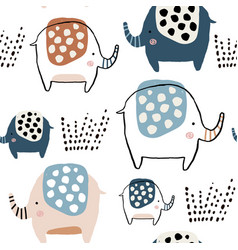 seamless pattern with cute ink drawn elephants vector image