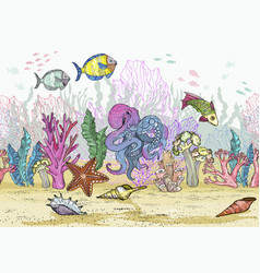 seamless pattern with hand drawn sea coral reef vector image