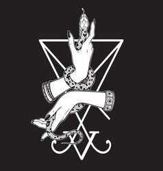 Serpent in female hands over sigil lucifer vector