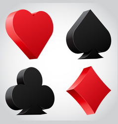 Set 3d card suit icons in black and red vector