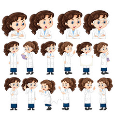 Set girl in safari outfit doing different poses vector
