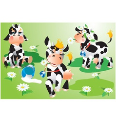 Set of cows cartoons on green meadow vector