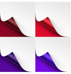 set of curled colored corners of white paper vector image