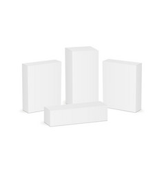 set of four white blank rectangular boxes vector image