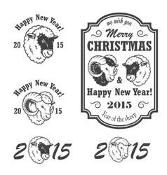 Set of new year and christmas emblems vector