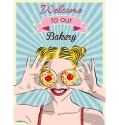 Sign in a bakery and the girl with cookies vector