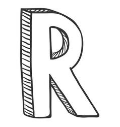 Single doodle sketch - the letter r vector