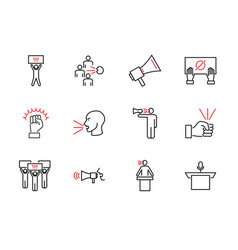 Speak out outline icon collection set vector