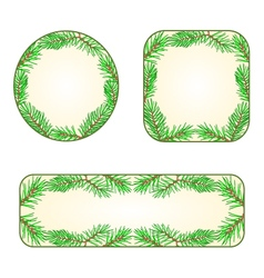 Spruce banners and buttons with a plants vector image