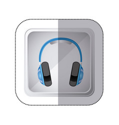 sticker silver square button with music headphones vector image