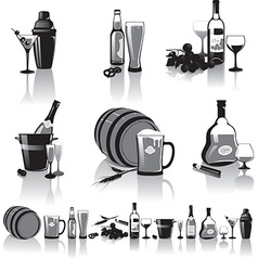 Still-life of spirits and glasses vector