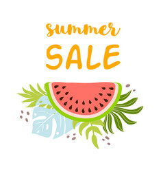 Summer sale text watermelon with tropical leaves vector