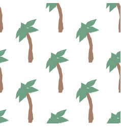 summer seamless pattern with hand drawn palm trees vector image