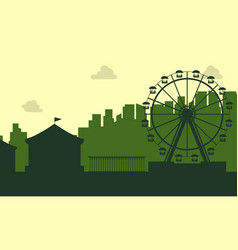 the carnival funfair scenery silhouette vector image vector image