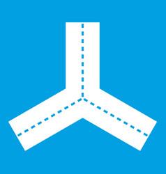 Three roads icon white vector