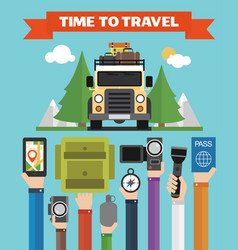 Time to travel modern flat background with jeep vector