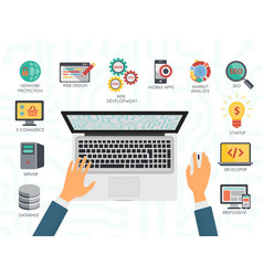 Top view of the programmer hands on laptop Coding vector image