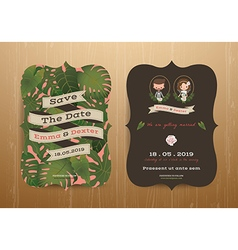 Tropical wedding bride and groom invitation card vector