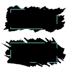 two black bannersheaders of ink brush strokes set vector image