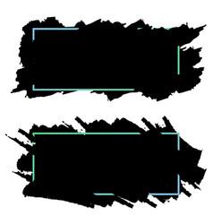 two black bannersheaders of ink brush strokes set vector image