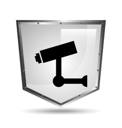 Video surveillance symbol icon shield steel vector