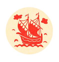 vintage sailboat floating on waves on round vector image