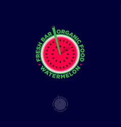 watermelon logo fresh juice bar emblems organic vector image