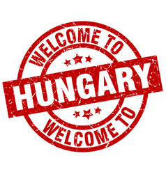 Welcome to hungary red stamp vector