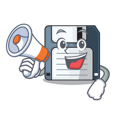 With megaphone cartoon shape in the floppy disk vector