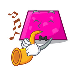with trumpet trapezoid mascot cartoon style vector image