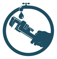 Wrench in hand repair plumbing symbol vector