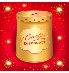 Xmas discounts holiday moneybox tin can template vector