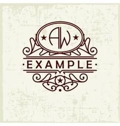 Beautiful emblem badge monogram for template vector image