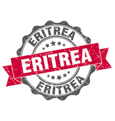 Eritrea round ribbon seal vector