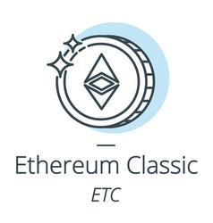 ethereum classic cryptocurrency coin line icon of vector image vector image