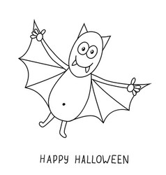 funny cartoon bat isolated on white background vector image vector image